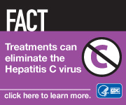 Campaign Badge which reads, 'FACT: Treatments can eliminate the Hepatitis C virus. Click here to learn more.'