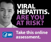 Campaign Badge with young white male and text which reads, 'VIRAL HEPATITIS. ARE YOU AT RISK? Take this online assessment to see if you're at risk.'