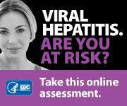 Campaign Badge with young white female and text which reads, 'VIRAL HEPATITIS. ARE YOU AT RISK? Take this online assessment to see if you're at risk.'