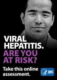 Campaign Badge with young hispanic male and text which reads, 'VIRAL HEPATITIS. ARE YOU AT RISK? Take this online assessment to see if you're at risk.'