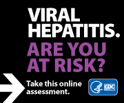 Campaign Badge with text which reads, 'VIRAL HEPATITIS. ARE YOU AT RISK? Take this online assessment to see if you're at risk.'
