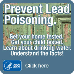 Prevent Lead Poisoning. Get your home tested. Get your child tested. Get the facts! Click here?