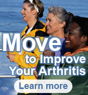 Move to improve your Arthritis. Learn More. Image of three women walking.
