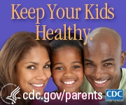 Keep Your Kids Healthy- Parents and child with smiling faces.