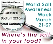 World Salt Awareness Week: March 21-27. Where's the salt in your food?