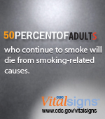 50% of adults who smoke will die from smoking-related causes. CDC Vital Signs. http://ww.cdc.gov/VitalSigns/AdultSmoking/