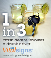 1 in 3 crash deaths involves a drunk driver. CDC Vital Signs. www.cdc.gov/VitalSigns/DrinkingAndDriving/