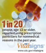 1 in 20 people, age 12 or older, reported using prescription painkillers for nonmedical reasons in the past year. CDC Vital Signs. www.cdc.gov/VitalSigns/PainkillerOverdoses/