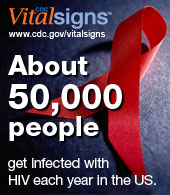 Vital Signs www.cdc.gov/VitalSigns About 50,000 people get infected with HIV each year in the US