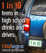 1 in 10 teens in high school drinks and drives.