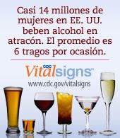 Afiche de los VitalSigns: Atracón de alcohol en mujeres adultas y adolescentes