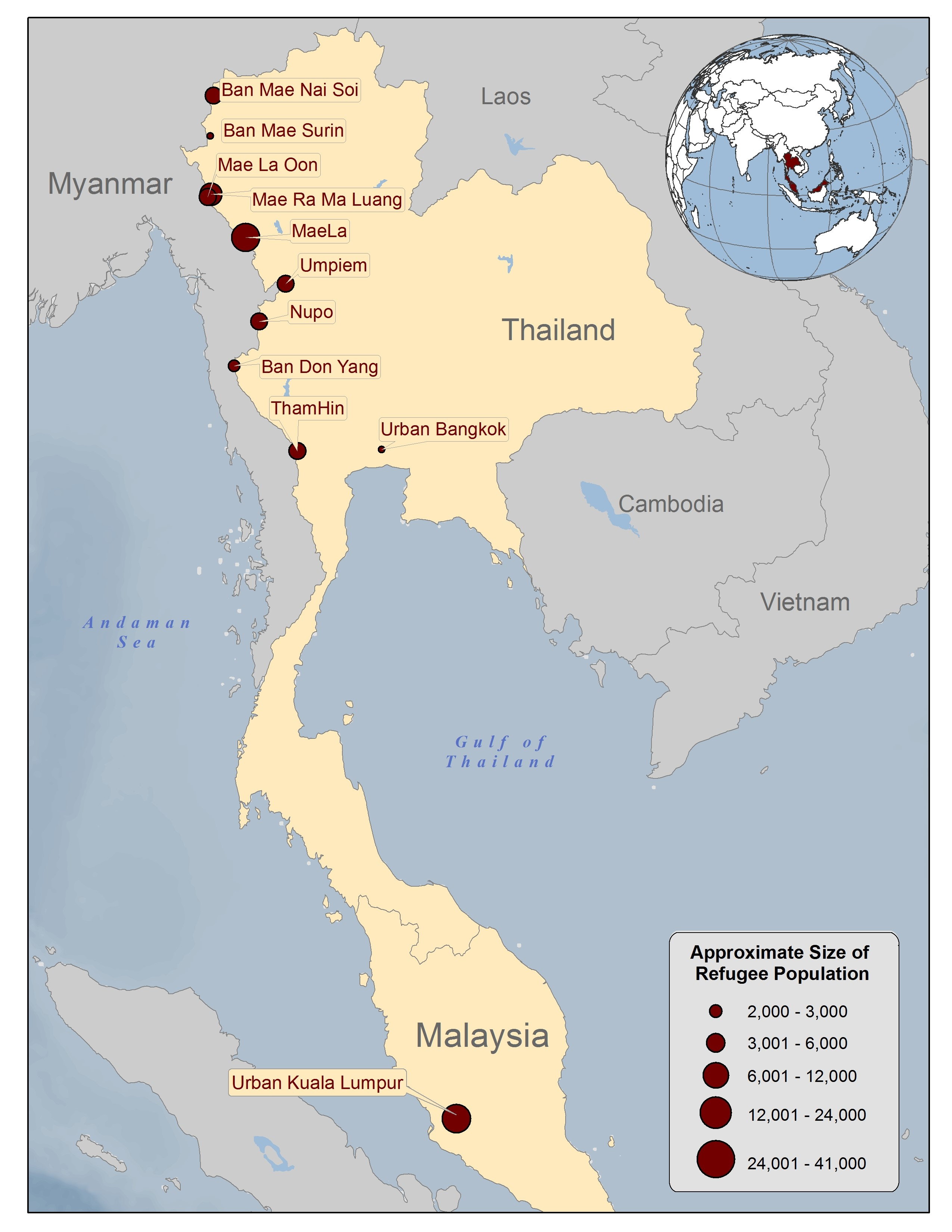 A map of Thailand showing the location of Burmese refugee camps