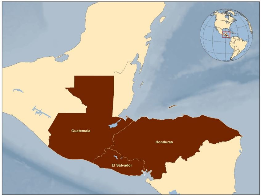 This shows a map of El Salvador, Guatemala, and Honduras highlighted.