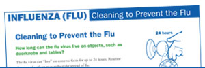 First page of the influenza document titled 'Cleaning to Prevent the Flu.'