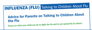First page of the influenza document titled 'Talking to Children About Flu.'