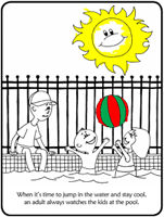 Coloring book page illustrating pool safety