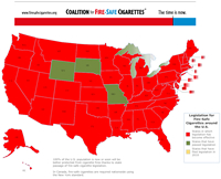 Map of U.S. showing fire-safe cigarette legislation