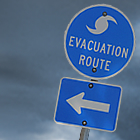 Photo: Hurricane evacuation route road sign