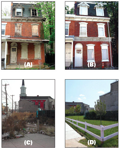 Before-after remediations: abandoned building (a, b) and vacant lot (c, d).