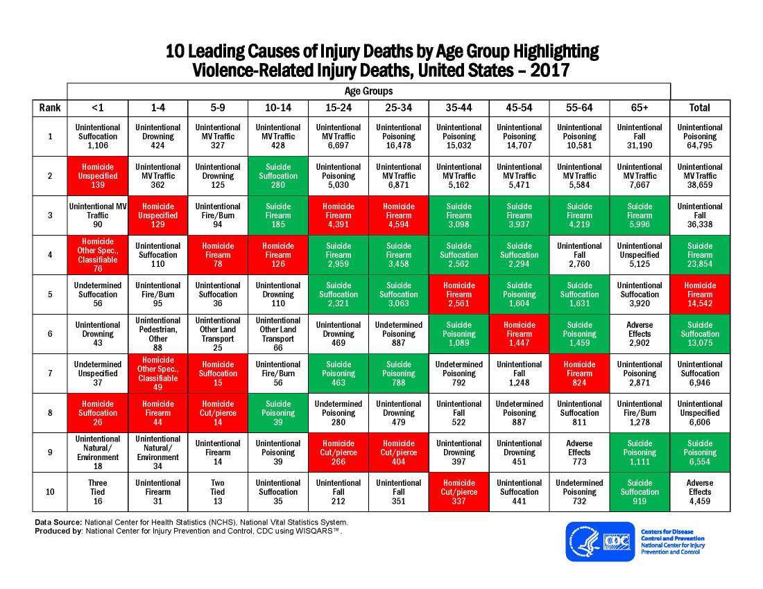 10 Leading Causes of Injury Deaths by Age Group Highlighting Violence-Related Injury Deaths, United States – 2017