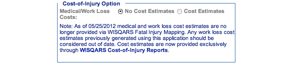 This is an image of the Cost of Injury Option section.