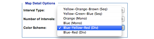 Image: Map Detail Options subcategory, Color Scheme. In this subcategory, you must select one of the following options: Yellow-Orange-Brown (Seq), Yellow-Green-Blue (Seq), Orange (Mono), Blue (Mono), Blue-Yellow-Red (Div), Blue-Red (Div).
