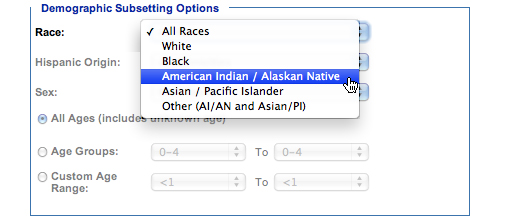 Image: Demographic Subsetting Options subcategory, Race. In this subcategory, you must select one of the following options: All Races, White, Black, American Indian/Alaskan Native, Asian/Pacific Islander, Other (AI/AN and Asian/PI).