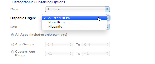 Image: Demographic Subsetting Options subcategory, Hispanic Origin. In this subcategory, you must select one of the following options: All Ethnicities, Non-Hispanic, Hispanic.