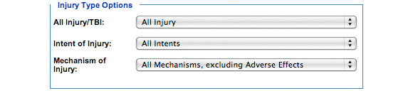 This is an image of the Injury Type Options section. In this section, you must choose a subcategory of one of the following categories: All Injury/TBI, Intent of Injury and Mechanism of Injury.