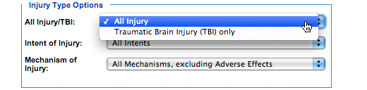 Image: Injury Type Options subcategory, All Injury/TBI. In this subcategory, you must select one of the following options: All Injury or Traumatic Brain Injury (TBI) only (All Injury is the default option).