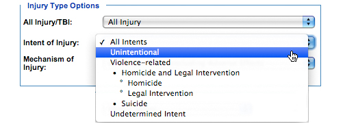 Image: Injury Type Options subcategory, Intent of Injury. In this subcategory, you must select one of the following options: All Intents, Unintentional, Violence-related, Homicide and Legal Intervention, Homicide, Legal Intervention, Suicide and Undetermined Intent (All Intents is the default option).