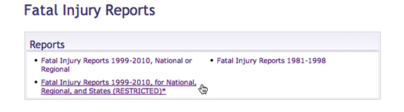 Image: Screen capture showing Fatal Injury Report date range options.