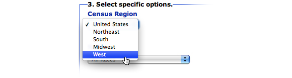 Image: Screen capture showing Report option 3, Census Region. The option of West region is selected.