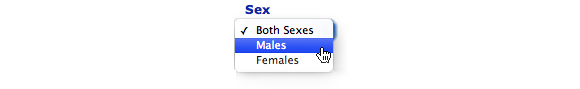 Image: Screen capture showing options for Sex, Males selected.