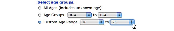 Image: Screen capture showing options for Age Groups. Custom age range of 16 to 25 is selected.