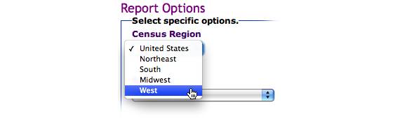 This image shows the options for Census Region. In this example, West is selected.