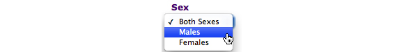 This image shows the options for Sex. In this example, the option selected is Males.
