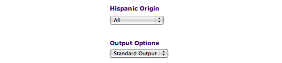 This image shows Hispanic Origin and Output Options. In this example, the default values are selected: All for Hispanic Origina and Standard Output for Output Options.
