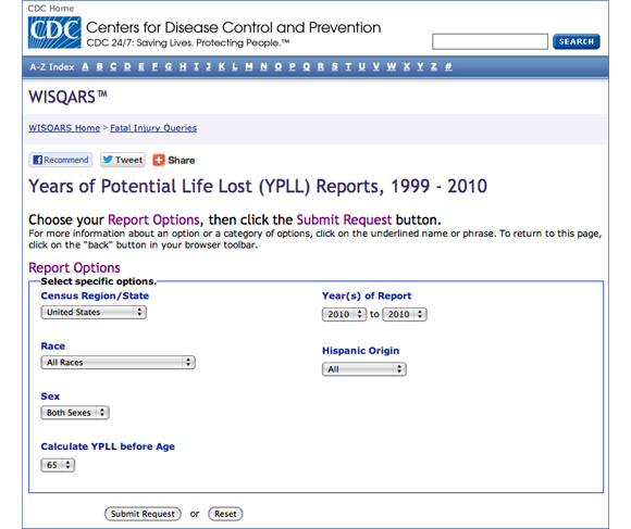 This image shows all of the Years of Potential Life Lost (YPLL) report options. You are asked to define the following elements, which will be displayed on the finished map: Census Region/State, Race, Sex, Calculate YPLL before Age, Year(s) of Report, and Hispanic Origin.