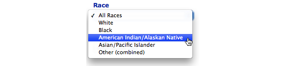 This image shows the Race option. American Indian/Alaska Native is selcted.
