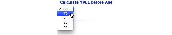 This images shows the Calculate YPLL before Age option. 70 is selected.