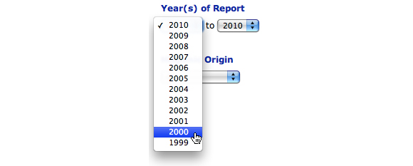 This image shows the Year(s) of Report option. The ragne of 2000 to 2010 is selected.