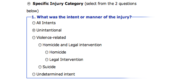 Specific Injury Category is selected. This images shows the question: What was the intent or manner of the injury? Unintentional is selected.