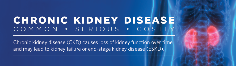 Chronic Kidney Disease: Common, Serious, Costly. Chronic kidney disease (CKD) causes loss of kidney function over time and may lead to kidney failure or end-stage kidney disease (ESKD).