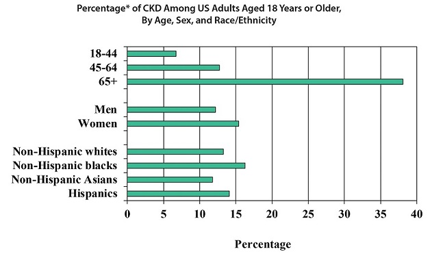 Percentage of CKD among US adults aged 18 years or older, by age, sex, and race/ethnicity.