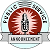 Icon with microphone and text, 'Public Service Announcement'