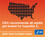 "Outline of United States filled with human figures. Text reads, ""CDC recommends all adults get tested for hepatitis C. click here to learn more"". HHS-CDC log is in lower right corner."