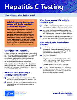 Fact sheet titled Hepatitis C Testing