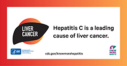 "Form of a liver with Live Cancer text. Text reads, ""Hepatitis C is a leading cause of liver cancer. CDC.gov/KnowMoreHepatitis."" Logos for HHS-CDC and campaign are in the lower corners."
