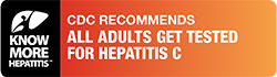 "Logo for Know More Hepatitis campaign on a left-side bar. The reast reads, ""CDC recomments all adults get tested for hepatitis C""."